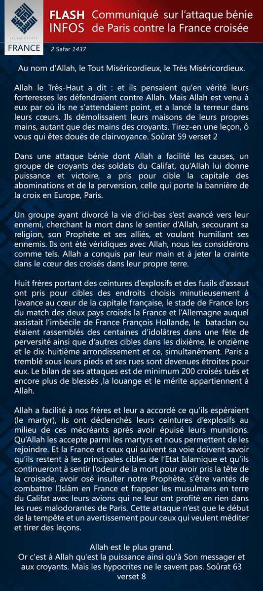 Communiqué officiel de Daech/État Islamique